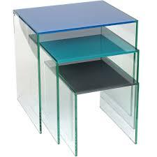 buy nest of tables helderr beljo coloured glass nest of 3 tables