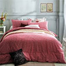 home textile100 high quality cotton knitting cherry red gingham bedding sets queen size king size duvet cover bed sheet pillowcase bedding sets duvet cover