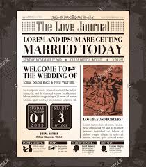 Wedding Program Samples Free Journal Wedding Newspaper Front Page Template Jpeg 585 671