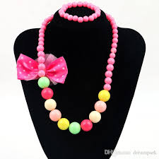 colour beads necklace images Candy colour beads girl kids bowknot party princess jewelry jpg