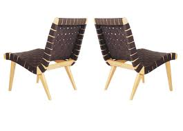 matching pair of jens risom for knoll webbed lounge chairs in