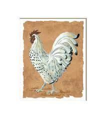 white rooster art print rooster wall art country rooster