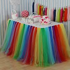 tulle decorations vlovelife rainbow color tulle table skirt tutu