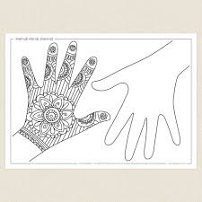 henna coloring pages mehndi hands henna activity sheet cleverpatch