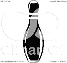 clipart of a black and white bowling pin royalty free vector