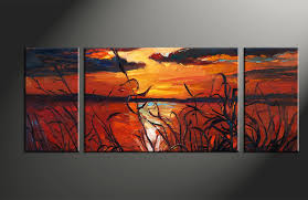 triptych red canvas ocean sunset oil paintings wall art home decor 3 piece photo canvas sunset artwork ocean large canvas oil