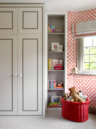 Kids Bedroom Built In Cabinet Design Children U0027s Bedroom With Red Patterned Wallpaper And Fitted