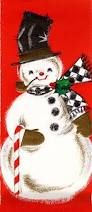 christmas vintage greeting card with snowman mad for mid century