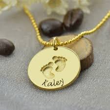 baby name necklace gold aliexpress buy gold color baby name necklace with footprints