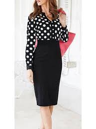 length dress stand up collar long sleeves polka dots high