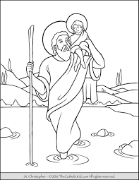 Saint Christopher Coloring Page The Catholic Kid Saints Colouring Pages