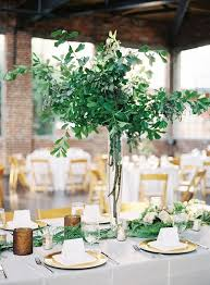 Natural Green Tall Wedding Centerpieces greenery leaves