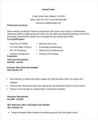 Veterinarian Resume Sample by Receptionist Resume Example 9 Free Word Pdf Documents Download