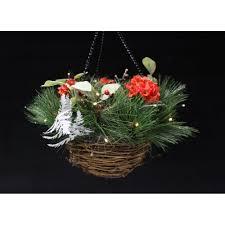 christmas hanging baskets with lights pre lit christmas berry hanging basket with outdoor timer light tj