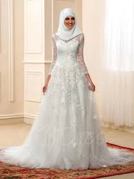 55 Long Sleeve Wedding Dresses by High Neck Long Sleeve A Line Muslim Arabic Lace Wedding Dress With