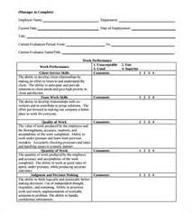 simple employee evaluation form template sample letter