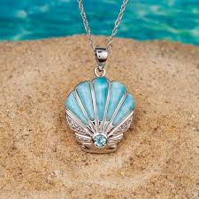 necklace pendant shell images Larimar scallop shell pendant chain 33899 jpg