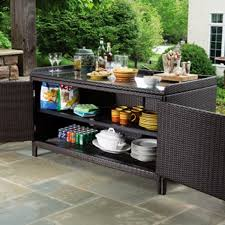 Serving Station Patio Cabinet All Weather Wicker Outdoor Sideboard Console Storage Table