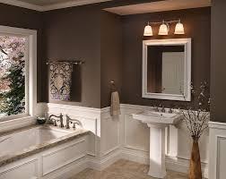 bathroom mirror with lights behind dark shower head white glossy
