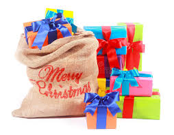 wrapped christmas boxes colorful background with santas gift sack stock image image