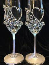 wedding glasses 2 glass wedding chagne flutes silver toasting glasses