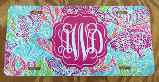 lilly pulitzer lets cha cha monogrammed license plate