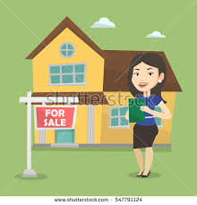 friendly real estate agent giving key stock vector 645546052