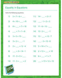 equality in equations u2013 free equation worksheet for 4th grade