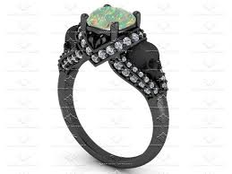 skull wedding rings sapphire studios amora 1 65ct opal white diamond silver skull