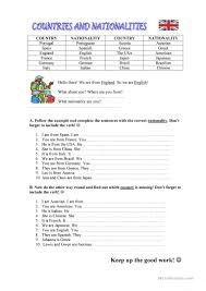 Linking And Action Verbs Worksheets 646 Free Esl Countries Worksheets