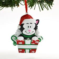 black cat in box personalized ornaments