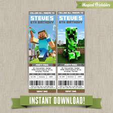 minecraft birthday invitations birthday ticket invitations instant