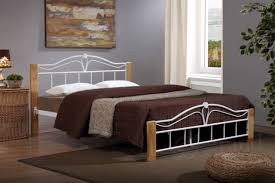 Beech Bed Frame Thiago Modern Wooden Beech And White Metal Bed Frame King