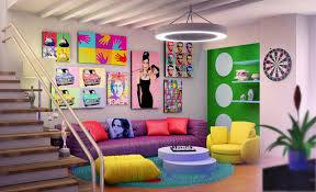 decorating retro basement design with modern furniture and