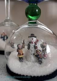 wine glass snow globes diy stemware snow globes