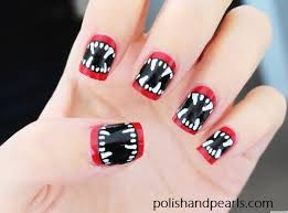 diy nail art halloween inspired vampire fangs manicure video
