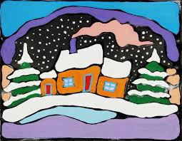 winter landscape painting for kids inspired by ted harrison woo