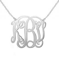 Sterling Silver Monogram Jewelry Personalized Silver Monogram Necklace 1 Inch Small Any