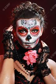 Girls Halloween Makeup Halloween Make Up Sugar Skull Beautiful Model With Perfect
