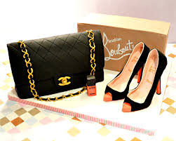chanel handbag and louboutin high heels shoe cake chérie kelly
