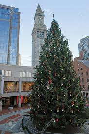 city view of boston massachusetts usa at christmas time with