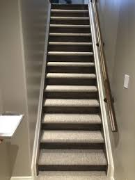 Stairs With Laminate Flooring Carpet On Tread And Wood Or Laminate Flooring On The Riser This