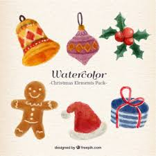 watercolor christmas elements pack vector free download