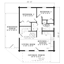 House Plans With Screened Porch Log Style House Plan 3 Beds 2 00 Baths 1122 Sq Ft Plan 17 484