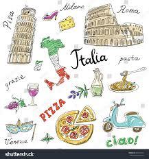 Milan Italy Map Set Italy Symbolslandmarkstravel Iconshand Drawn Set Stock Vector