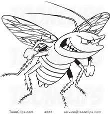cartoon black white outline design evil cockroach 233