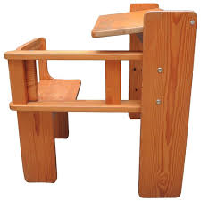 mid century modern folding wood childs desk with integrated chair