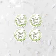 green foliage thank you round tags 1 5 inch favor label printable