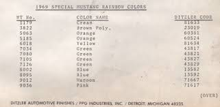 1968 1969 rainbow of colors mustangs mustangattitude com special
