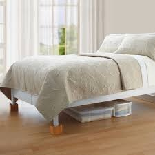 Wooden Bed Bedroom With Plastic Bins And Wooden Bed Risers Bedroom With